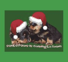 Vector Santa Paws Is Coming To Town Christmas Greeting One Piece - Short Sleeve