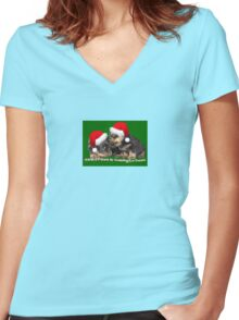 Vector Santa Paws Is Coming To Town Christmas Greeting Women's Fitted V-Neck T-Shirt