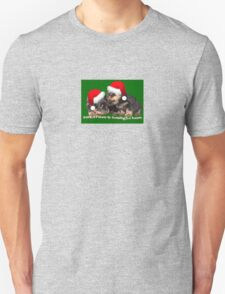 Vector Santa Paws Is Coming To Town Christmas Greeting Unisex T-Shirt