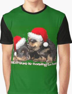 Vector Santa Paws Is Coming To Town Christmas Greeting Graphic T-Shirt