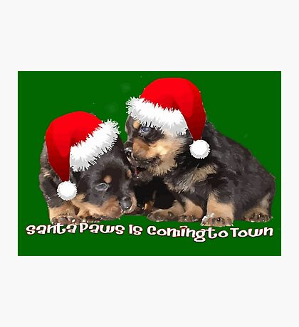 Vector Santa Paws Is Coming To Town Christmas Greeting Photographic Print