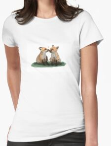 Cute Foxes Illustration Womens Fitted T-Shirt