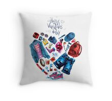 fashion illustration. heart of clothes. painted in watercolor Throw Pillow