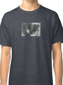 Close Up Portrait Of A Relaxed Grey Cat Classic T-Shirt