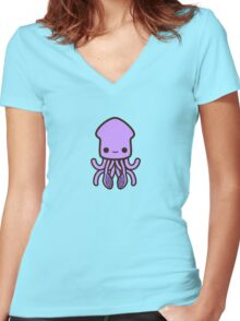 Cute purple squid Women's Fitted V-Neck T-Shirt