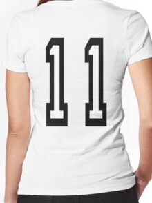 11, TEAM SPORTS, NUMBER 11, Eleven, Eleventh, Competition Women's Fitted V-Neck T-Shirt