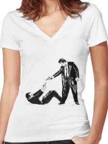 Two men with guns Women's Fitted V-Neck T-Shirt