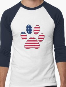 American flag paw print Men's Baseball ¾ T-Shirt