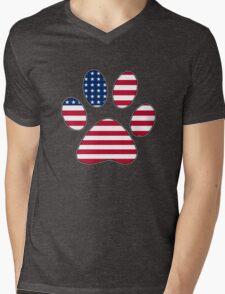 American flag paw print Mens V-Neck T-Shirt
