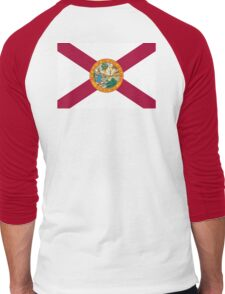 FLORIDA, American Flags, FLAG OF FLORIDA, Florida Flag, Pure & Simple, on Yellow Men's Baseball ¾ T-Shirt