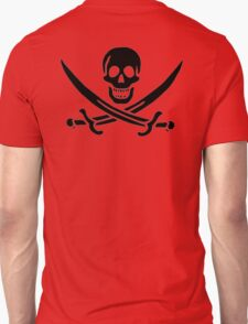 Jolly Roger, Yo Ho Ho! PIRATE FLAG, Jack Rackham, Skull & Crossbones, Cutlass, Swords, Pirate, Crew, Buccaneer, BLACK T-Shirt