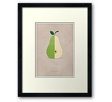 Pear (taupe) - Natural History Fruits Framed Print