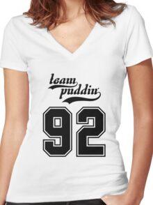 Team Puddin'! (BLACK) Women's Fitted V-Neck T-Shirt