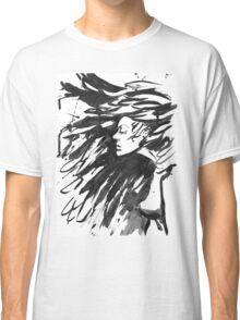 Young goth woman. Dark Queen . Fantasy black hair. Drawn ink Classic T-Shirt