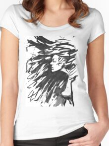 Young goth woman. Dark Queen . Fantasy black hair. Drawn ink Women's Fitted Scoop T-Shirt
