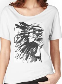 Young goth woman. Dark Queen . Fantasy black hair. Drawn ink Women's Relaxed Fit T-Shirt