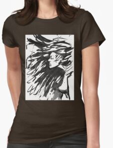 Young goth woman. Dark Queen . Fantasy black hair. Drawn ink Womens Fitted T-Shirt