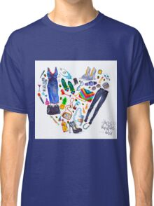 fashion illustration. heart of clothes. painted in watercolor Classic T-Shirt