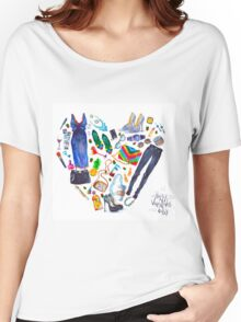 fashion illustration. heart of clothes. painted in watercolor Women's Relaxed Fit T-Shirt