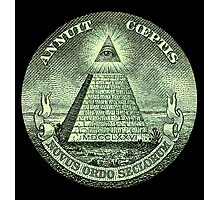 Eye of Providence, America, USA, Mystic, Dollar, Bill, Money, Freemasonry, All Seeing Eye, Pyramid, Masonic Photographic Print