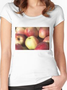 Red apples background Women's Fitted Scoop T-Shirt