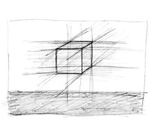 Sketch of a Cube Photographic Print