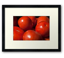 Ripe red tomatoes background Framed Print