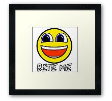 Smile Bite Me - Passive Aggressive Smiley Face Geek Framed Print
