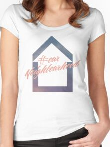 #ourNeighbourhood w/ House Logo for #troyetee Contest Women's Fitted Scoop T-Shirt