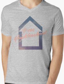 #ourNeighbourhood w/ House Logo for #troyetee Contest Mens V-Neck T-Shirt