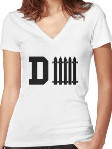 D-fence  Women's Fitted V-Neck T-Shirt