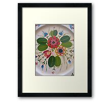 Antique Rosemaling Hot Pink Summer of Love Wild Rose Folk Art Scandinavian Kirsten  Framed Print