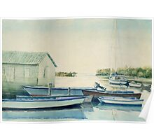 Blue boats watercolor Poster