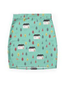 Countryside Pattern Mini Skirt