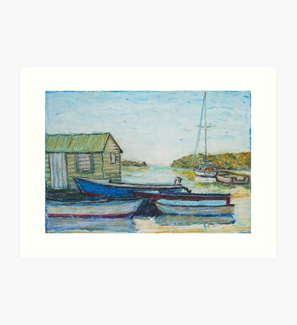 Blue boats 02 , oil pastels  Art Print