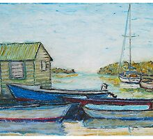 Blue boats, oil pastels  by Mary Batthany