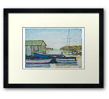 Blue boats 02 , oil pastels  Framed Print