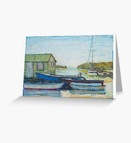 Blue boats 02 , oil pastels  Greeting Card