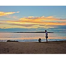 A Boy and his Dog at the Beach Photographic Print