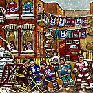 CANADIAN ART BY CANADIAN ARTIST CAROLE SPANDAU BACKLANE HOCKEY IN MONTREAL by Carole  Spandau