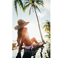 Attractive Brunette in White Bikini Sunbathing by Hotel Pool at Sunset Photographic Print
