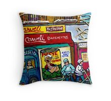 CARVELI'S PIZZA MONTREAL HOCKEY ART PAINTINGS WINTER IN THE CITY  Throw Pillow