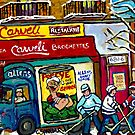 CARVELI'S PIZZA MONTREAL HOCKEY ART PAINTINGS WINTER IN THE CITY  by Carole  Spandau