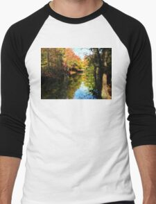 Autumn Park With Bridge Men's Baseball ¾ T-Shirt