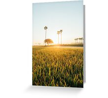 Sun Rising Over Grass Field in Burmese Countryside Greeting Card
