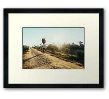 Woman Carrying Baskets on Head Walking in Burmese Countryside in Early Morning Framed Print