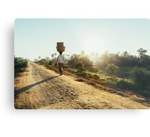 Woman Carrying Baskets on Head Walking in Burmese Countryside in Early Morning Metal Print