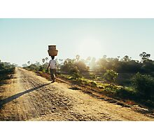 Woman Carrying Baskets on Head Walking in Burmese Countryside in Early Morning Photographic Print