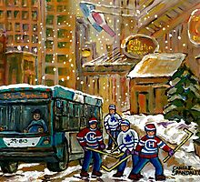 BUS SCENE MONTREAL WINTER SCENE CANADIAN ART RITZ CARLTON DOWNTOWN HOTEL  by Carole  Spandau