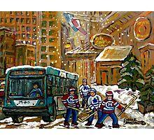 BUS SCENE MONTREAL WINTER SCENE CANADIAN ART RITZ CARLTON DOWNTOWN HOTEL  Photographic Print